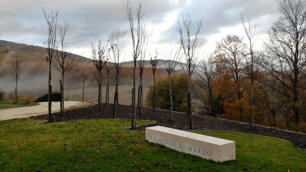 """Lago Tenuta dei Ciclamini - I giardini di Marzo"""" creati precedentemente e composti da Prunus da fiore."""